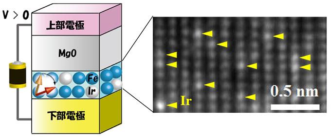 今回用いた素子構造の模式図(左)とFeIr超薄膜磁石の電子顕微鏡像(右)