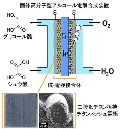 世界初、電力のみを使ってシュウ酸からグリコール酸を連続的に合成する装置の開発に成功
