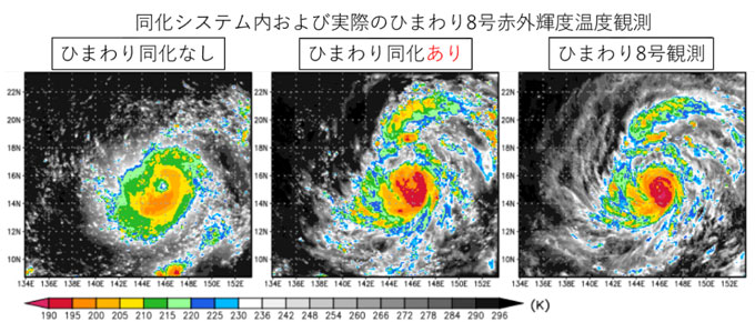 図1 2015年8月2日22時(日本時間)における台風第13号のシミュレーション
