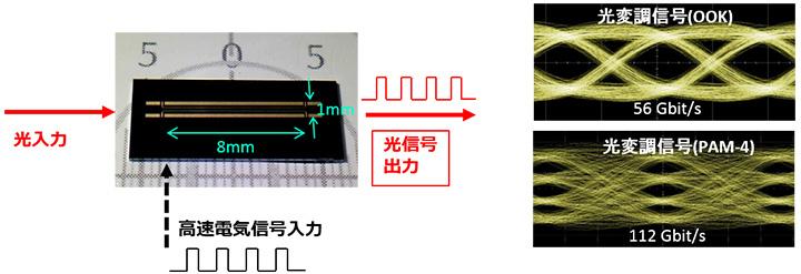 図2 本研究で作製した電気光学ポリマー光変調器の写真と光変調特性(上:OOK、下:PAM-4)
