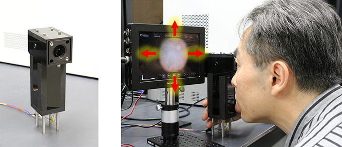 図3 自撮りできる小型眼底カメラ(プロトタイプ)
