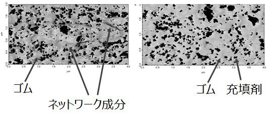 図4 原子間力顕微鏡位相像(左:制御でネットワークあり、右:制御せずネットワークなし)</h4> <!-