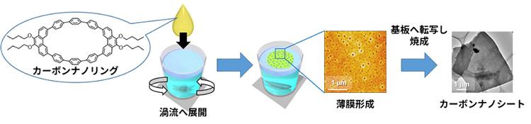 図1 カーボンナノリングを用いたカーボンナノシートの合成