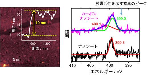 図5 窒素含有カーボンナノシートの原子間力顕微鏡像(左)とX線光電子分光スペクトル