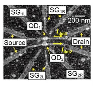 図1 InAs自己形成量子ドット並列トランジスタの電子顕微鏡写真