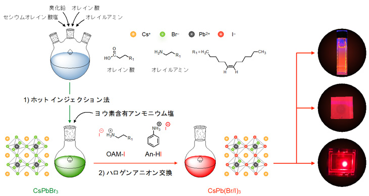 図1 ホットインジェクション法によるペロブスカイト量子ドットの合成とヨウ素含有アンモニウム塩を利用したハロゲンアニオン交換