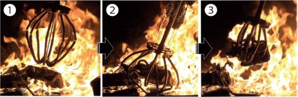 図11 耐火性グリッピング実験のロボットハンド部拡大図