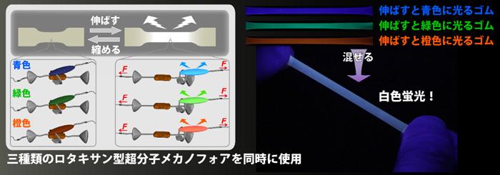 図2 白色蛍光をON/OFFスイッチする、今回開発したゴム材料の概念図