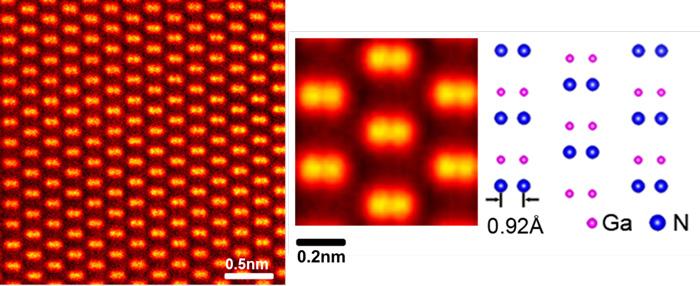 図4 窒化ガリウム(GaN)結晶中の原子観察例