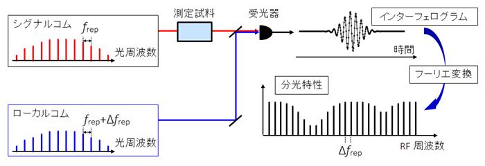 図1 デュアルコム分光法の概念図