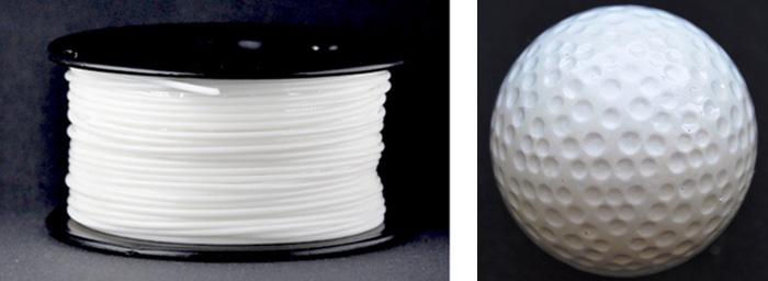 図3 3Dプリンターフィラメント、ゴルフボール